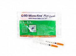 Шприцы инсулиновые одноразовые BD Micro-Fine Plus Demi с иглами 0,3 ml U-100 0,30 x 8,0 mm (30 G) N10